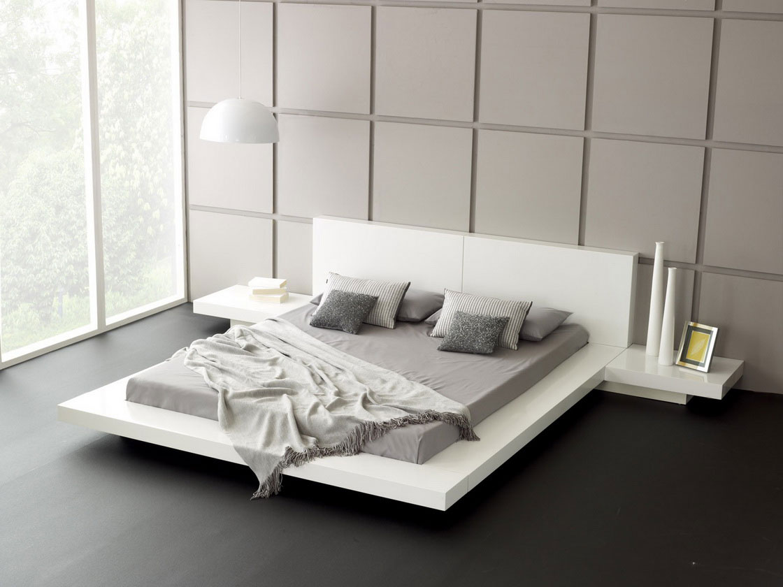 bedroom modern white. Bedroom-architecture-fabulous-bedroom-modern-style-design-with-luxury-white-beds-and-grey-mattress-and-bedside-table-also-black-laminate-floor-plus- Bedroom Modern White O