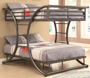 grey-iron-bedstead-with-grey-bedlinen-pillows-ladder-on-wooden-laminate-flooring-has-soft-white-carpet-cream-wall-paint-decoration-and-windows-in-modern-kid-bedroom-design-ideas